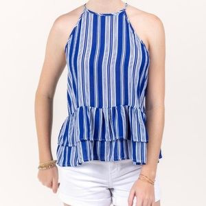 Francesca's Striped Ruffle Peplum Tank